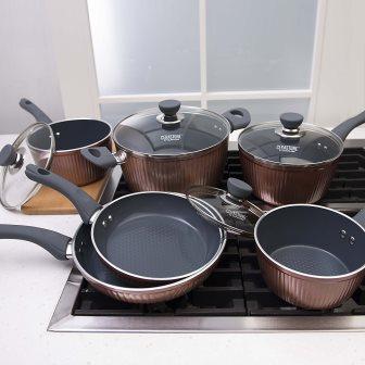 Cerastone Titanium Cwa0314 Aluminum Cookware Copper 10 Pc