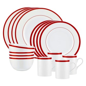 Gorham Bistro Porcelain China, 4 Setting Dinner Set 16 Pieces, Red ...